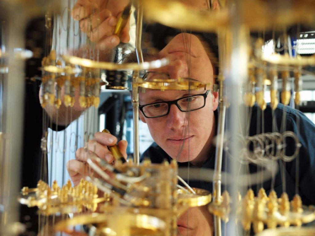 this-is-what-it-looks-like-inside-the-white-fridge-ibm-scientist-stefan-filipp-takes-a-closer-look-inside-the-dilution-refrigerator-which-keeps-qubits-at-temperatures-as-cold-as-outer-space